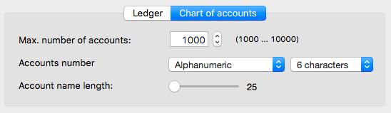 Chart of Accounts options