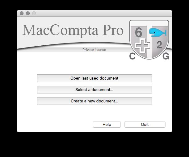 MacCompta Pro - Welcome screen